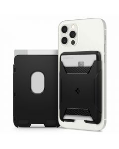 Spigen Rugged MagSafe Universal Magnetic Card Walet czarny/black AFA03363